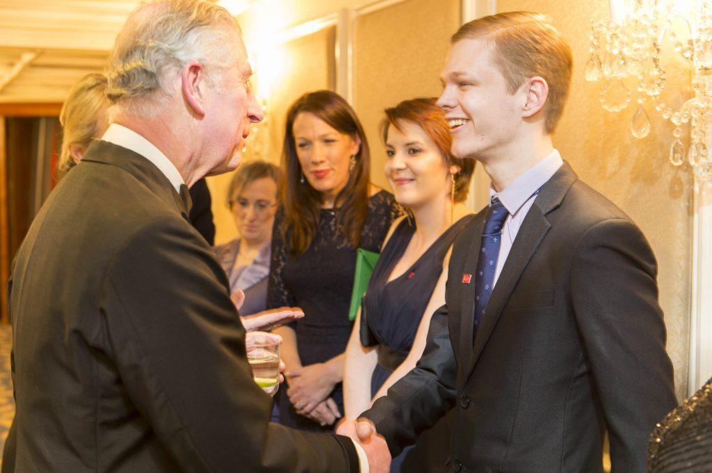 Nat meeting HRH Prince Charles The Prince's Trust EMC Leadership Dinner