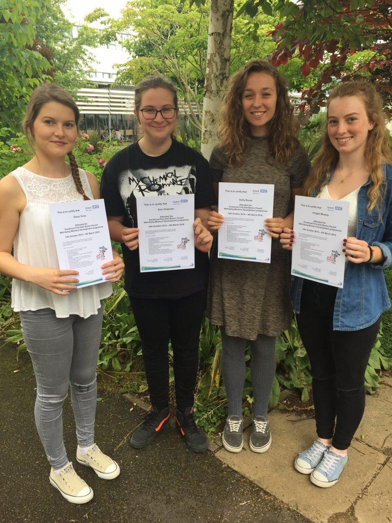 Student Peer Mentors Elena Toma, Sian Chapman, Verity Rouse, Immy May