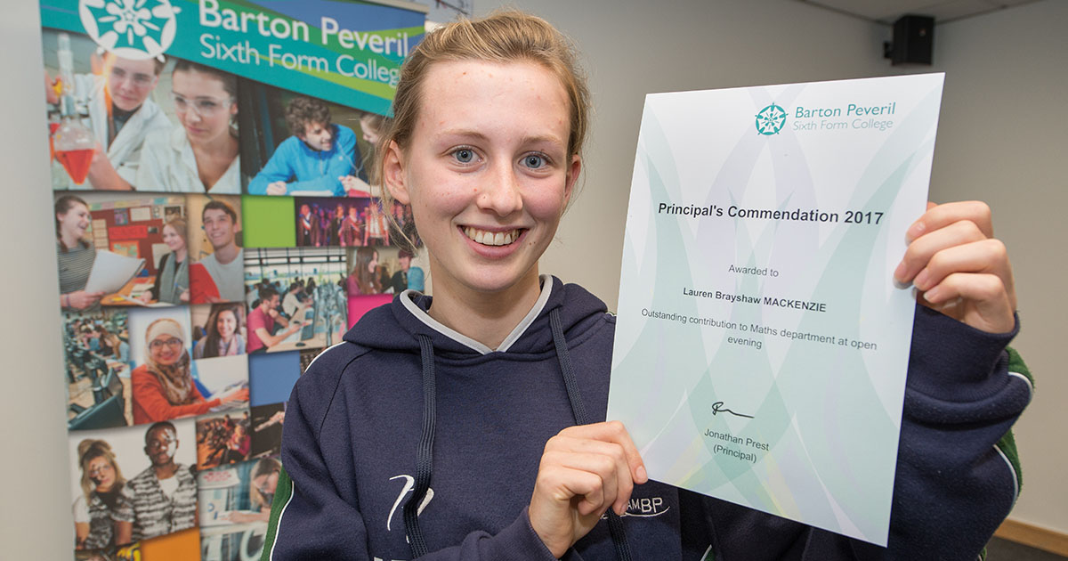 Barton Peveril Principal's Commendation Winners