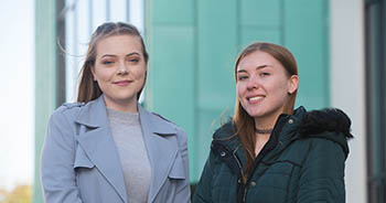 Former Fareham Academy pupils Lucy Knight and Jessica King