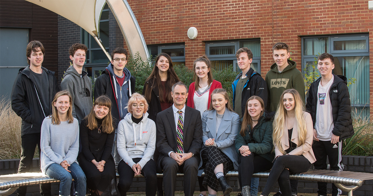 Principal Jonathan Prest with the Oxbridge applicants