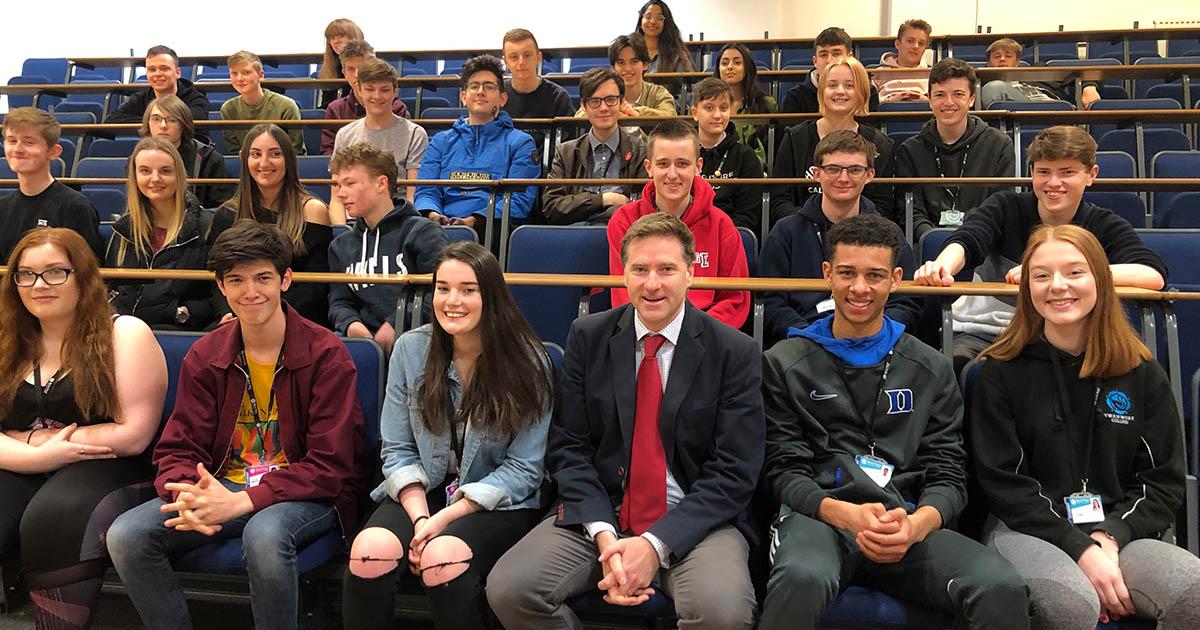 Steve Brine MP with Barton Peveril Politics Students