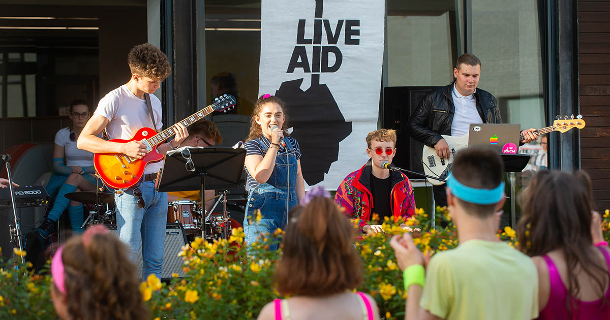 Barton Peveril's '80s Immersive Theatre Experience Live Aid Performance