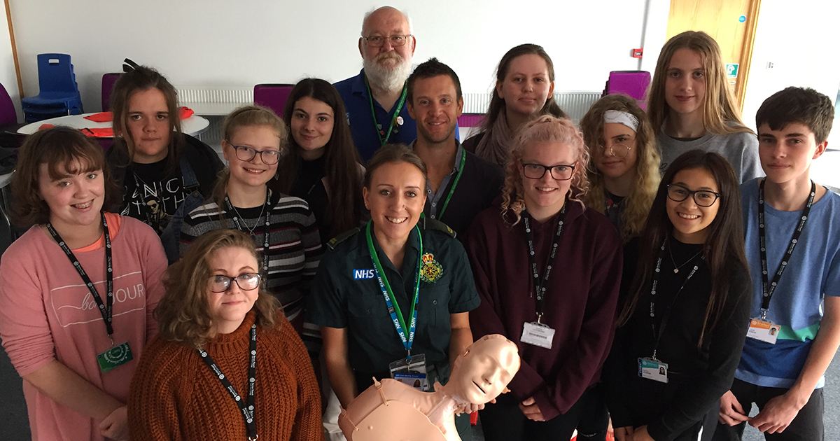 Barton Peveril Students on Restart a Heart Day